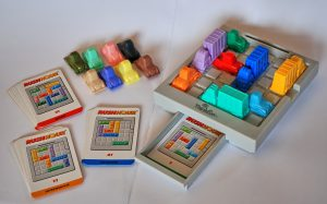 Rush Hour, a sliding block puzzle, manufactured by ThinkFun.